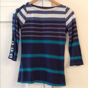 Used Anthropologie 3/4 sleeve striped tee XS